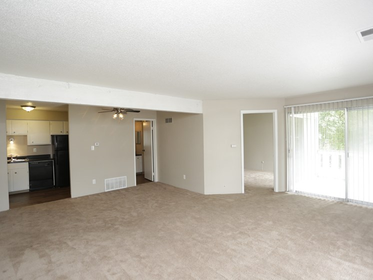 Large 1 bed 1 bath living room at Forest Park Apartments in North Kansas City, MO