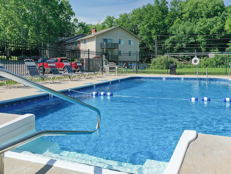 second sparkling pool on property at Forest Park Apartments in North Kansas City, MO