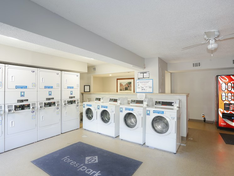 Community laundry room at Forest Park Apartments in North Kansas City, MO