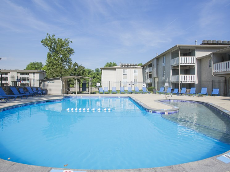 Sparkling blue water in pool at Forest Park Apartments in North Kansas City, MO