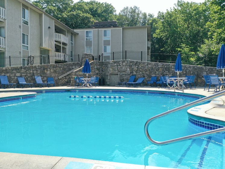 Resident seasonal outdoor pool at Forest Park Apartments in North Kansas City, MO