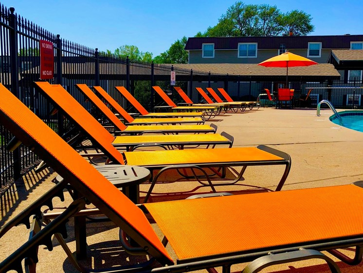 Sun tanning deck at Regency North Apartments in North Kansas City, MO