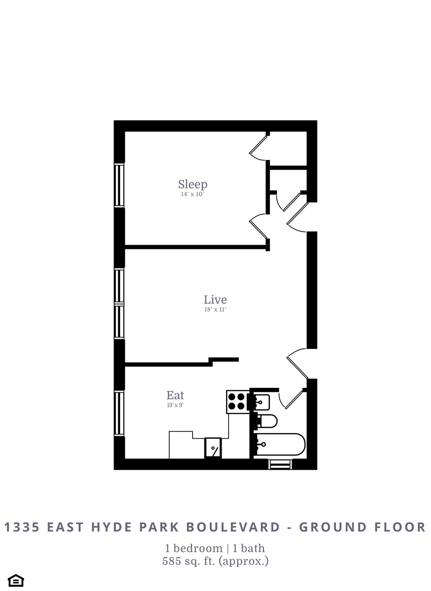 1 Bedroom, 1 Bathroom (B4)
