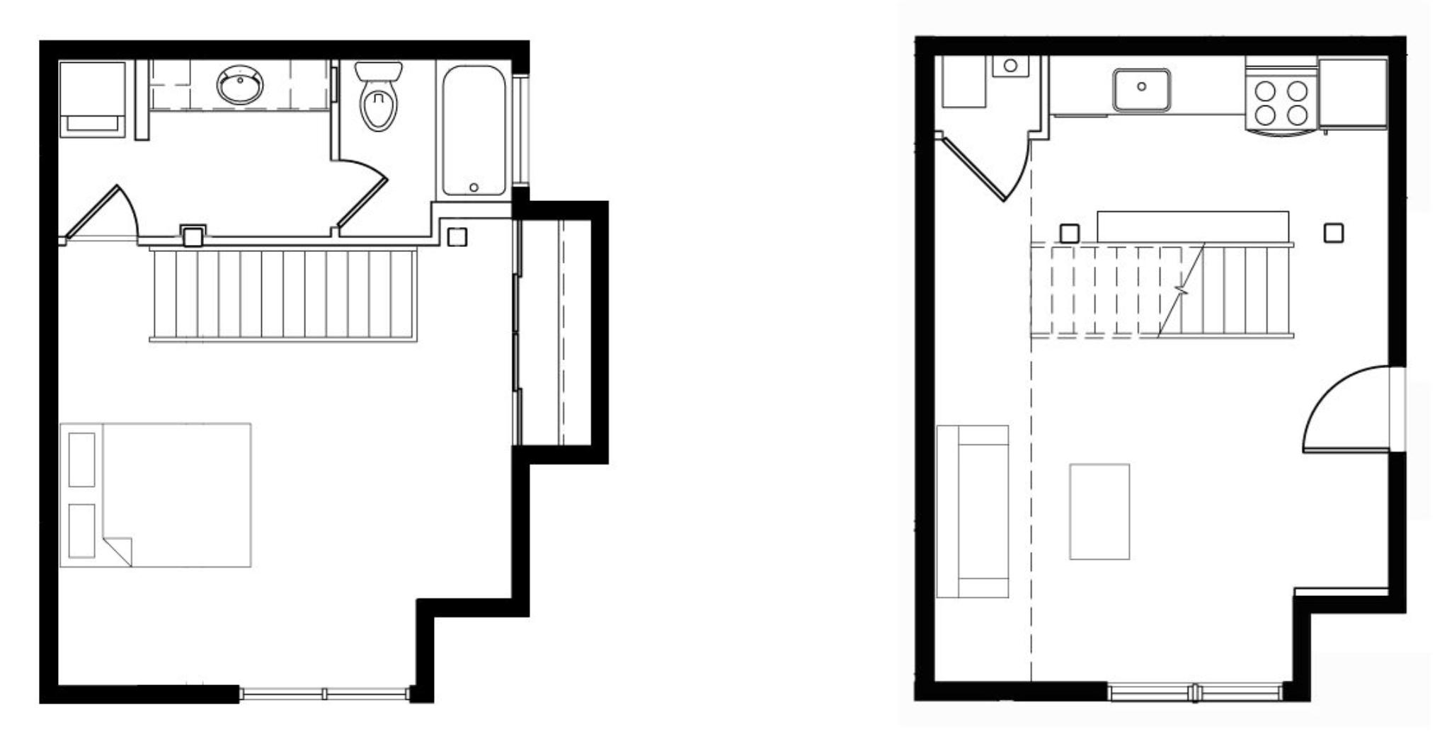 1 Bedroom / 1 Bath: Townhome Style Floor Plan 3