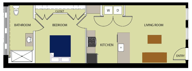 1 Bedroom / 1 Bath Floor Plan 2