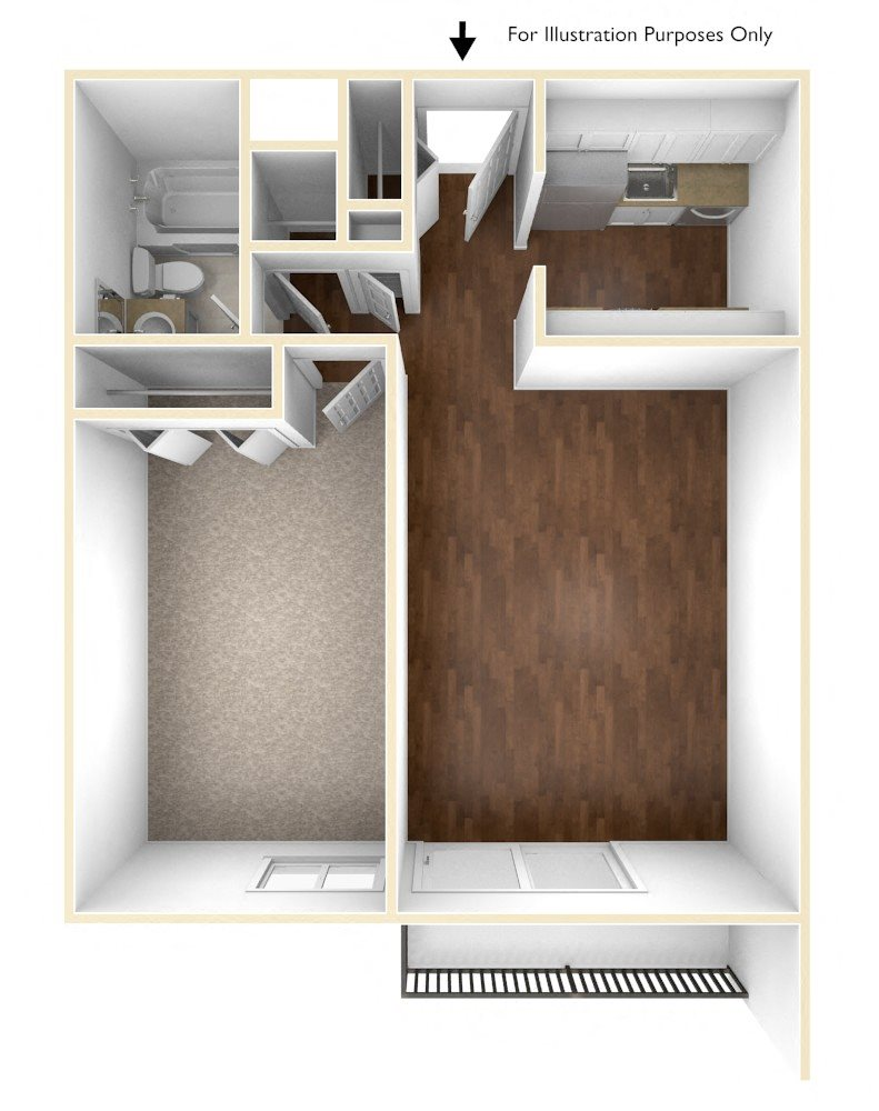 1 Bedroom floor plan at Stratton Hill Park Apartments in Worcester, MA