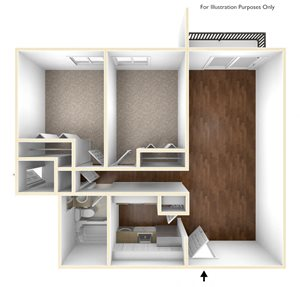 2 Bedroom floor plan floor plan at Stratton Hill Park Apartments in Worcester, MA