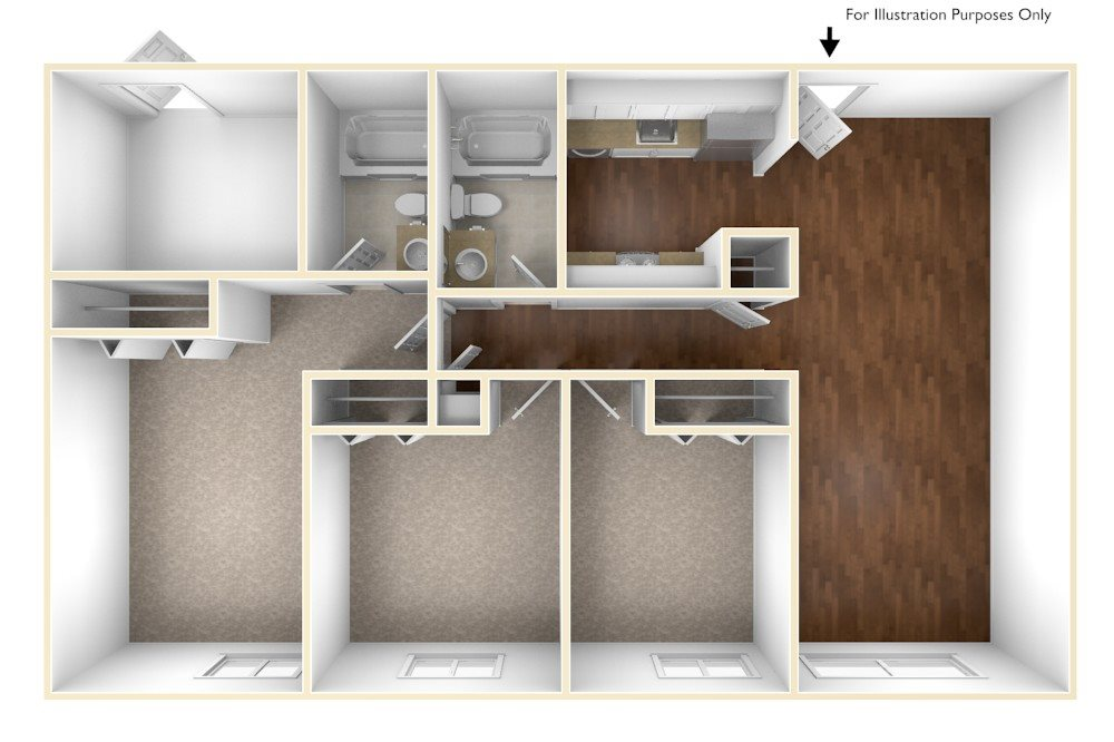 3 Bedroom floor plan floor plan at Stratton Hill Park Apartments in Worcester, MA