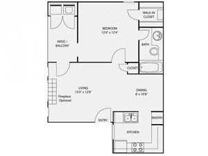 Foundations at Edgewater A2 Floor Plan -1 BR 1 Bath
