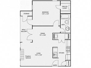 Foundations at Edgewater A3 Floor Plan -1 BR 1 Bath