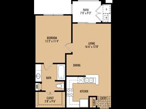 Regency at First Colony   A1 Floor Plan 1 Bedroom 1 Bath