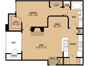 Regency at First Colony   A2 Floor Plan 1 Bedroom 1 Bath