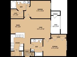 Regency at First Colony  B2 Floor Plan 2 Bedroom 2 Bath