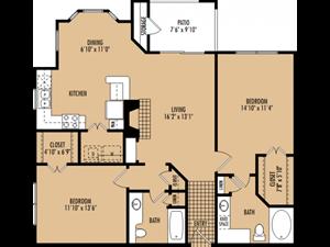 Regency at First Colony  B3 Floor Plan 2 Bedroom 2 Bath