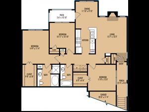 Regency at First Colony  C1 Floor Plan 3 Bedroom 2 Bath