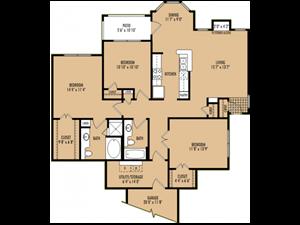 Regency at First Colony  C2 Floor Plan 3 Bedroom 2 Bath