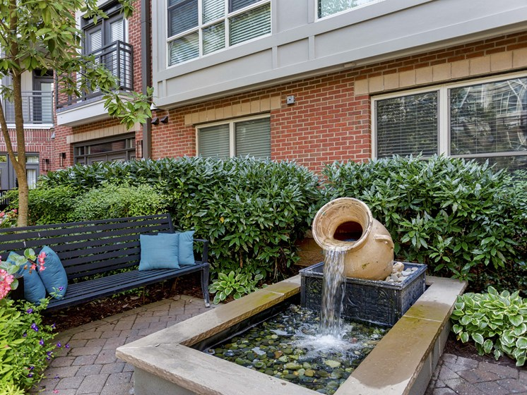 Courtyard Fire Table And Fountains at 712 Tucker, Raleigh, North Carolina