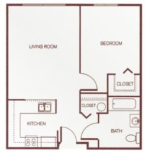 One-Bedroom Floor Plan 1