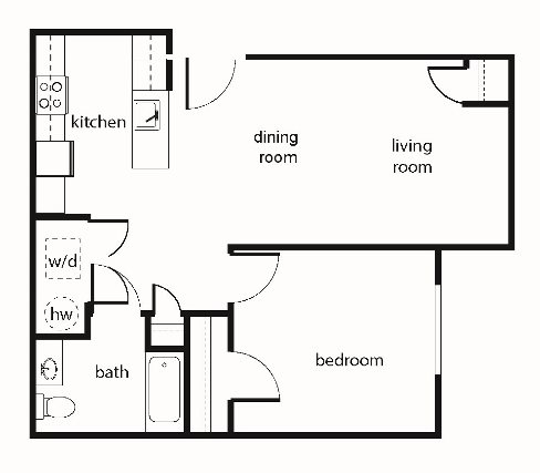 One-Bedroom Floor Plan 3