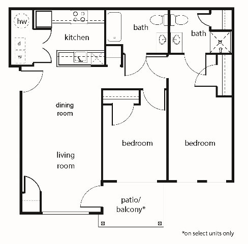 Two-Bedroom Floor Plan 1