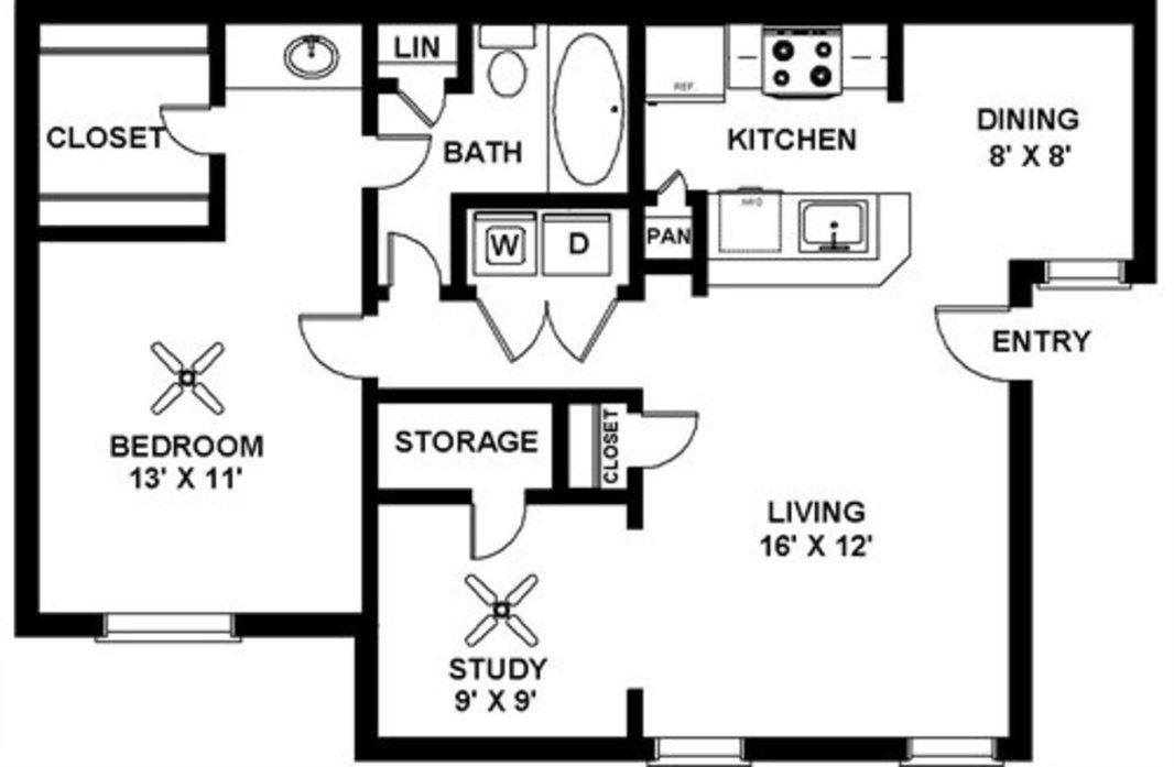 Renovated 1 Bedroom - A3 Floor Plan 10
