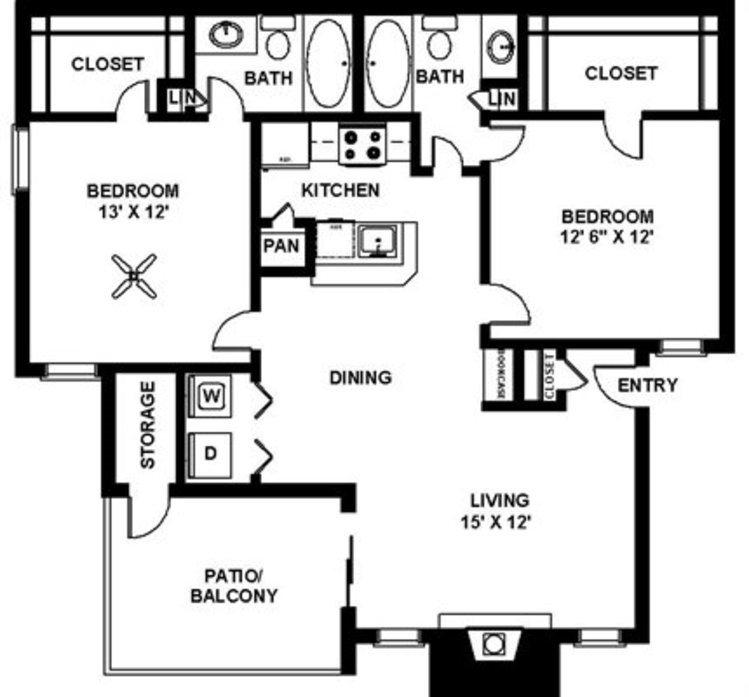 Renovated 2 Bedroom - B2 Floor Plan 12