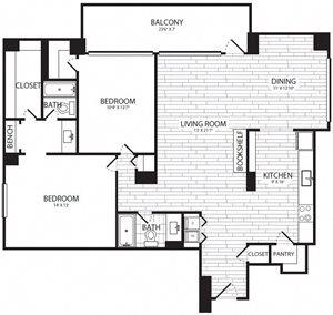 1 Bedroom, 2 Bath - A17 - Renovated