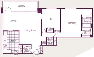1 Bedroom, 1.5 Bath, Den - A16 - Renovated