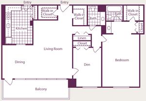 1 Bedroom, 1.5 Bath, Den - A18 Renovated