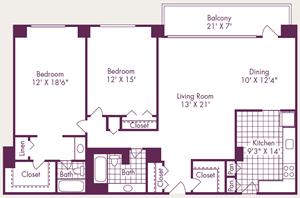 2 Bedroom, 2 Bath - B1 - Renovated