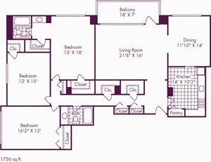 3 Bedroom, 2 Bath - C1