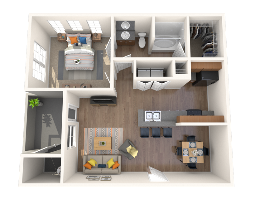 1 Bed - 1 Bath, 754 square feet Adamo floor plan