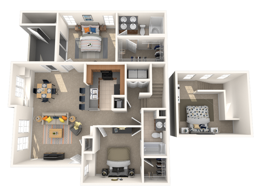2 Bed - 2 Bath, 1333 square feet Adifirmo floor plan
