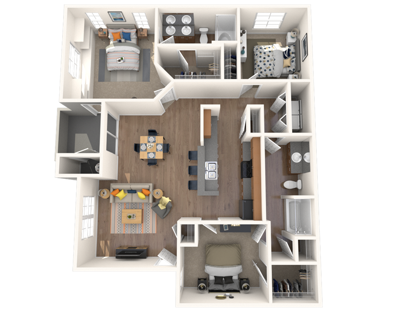 3 Bed - 2 Bath, 1289 square feet Bellus floor plan