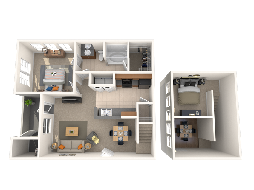 1 Bed - 1 Bath, 839 square feet Fidelis floor plan