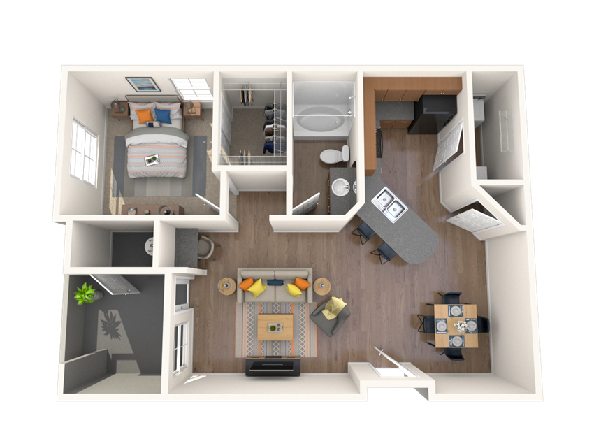 1 Bed - 1 Bath, 727 square feet Fortis floor plan