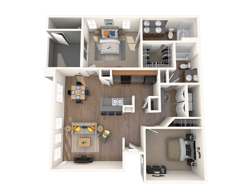 2 Bed - 2 Bath, 1058 square feet Opes floor plan