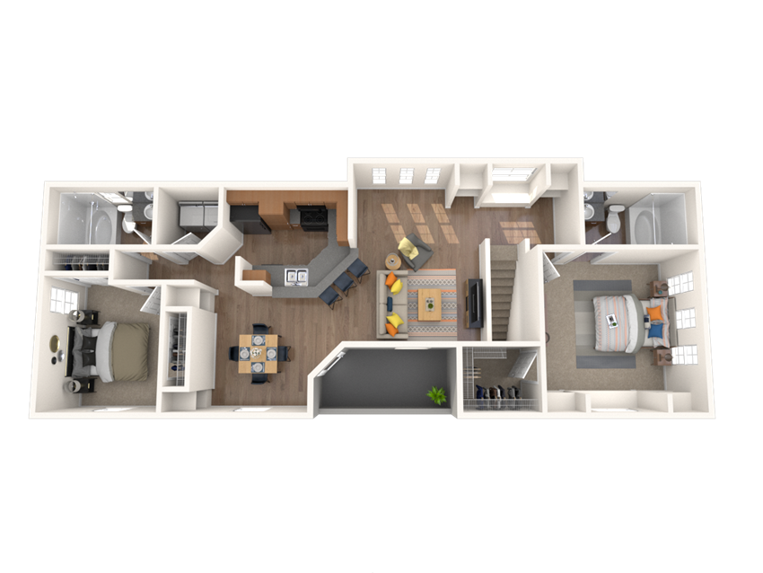 2 Bed - 2 Bath, 1167 square feet Parilis floor plan