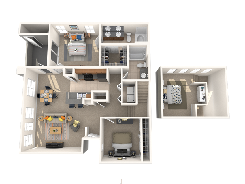 2 Bed - 2 Bath, 1212 square feet Salus floor plan