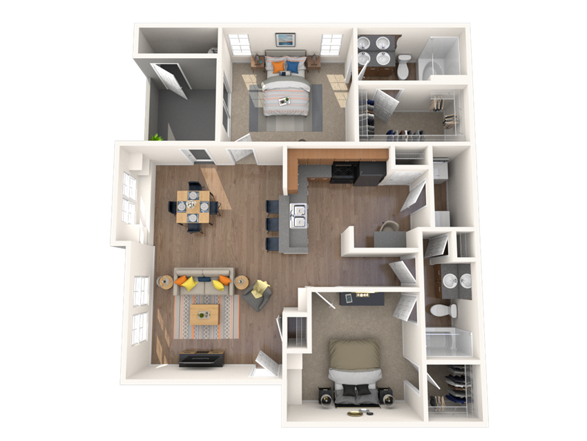 2 Bed - 2 Bath, 1168 square feet Venia floor plan
