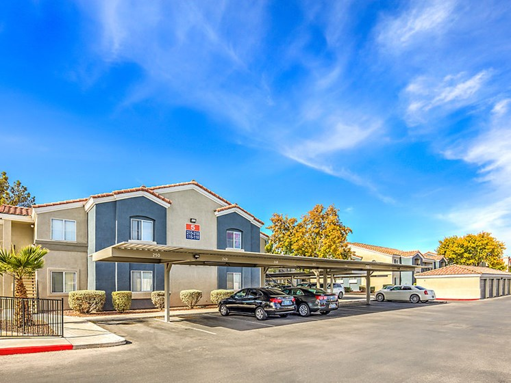Newly Renovated Apartments in Las Vegas Nevada - The Edmond at Hacienda Apartments Building View