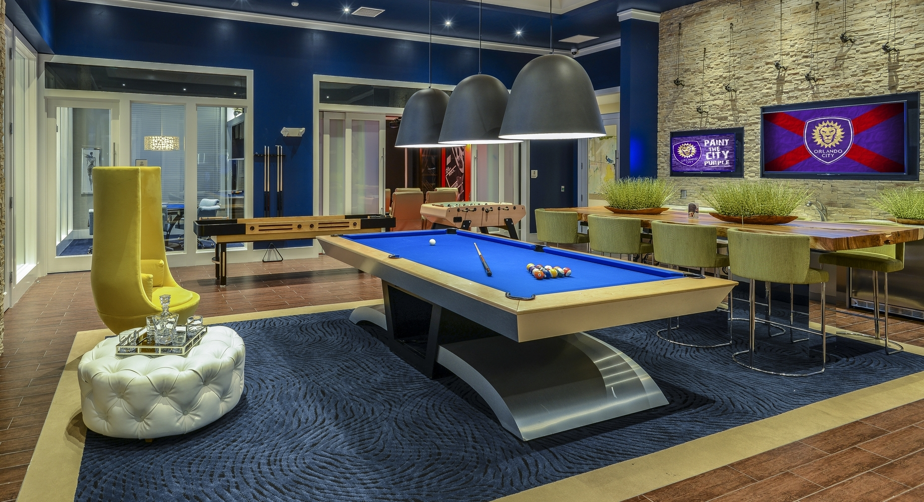 Clubhouse With Billiards At Altis Sand Lake, Orlando, Florida
