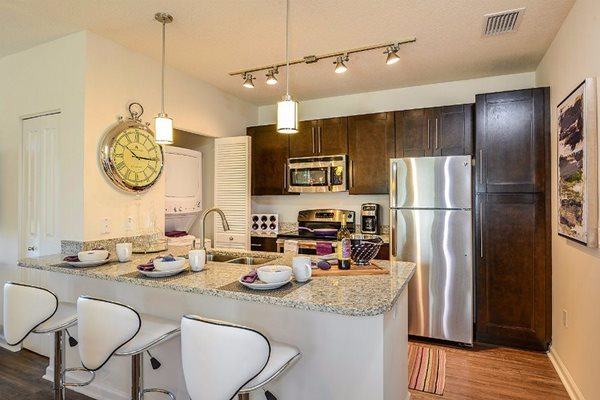 Kitchen with Breakfast Bar at Altis Sand Lake, Orlando, FL 32836