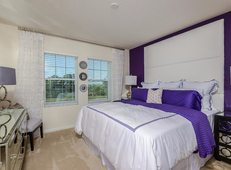 Master Bed with Wall-to-Wall Carpeting at Altis Sand Lake, Orlando, FL 32836