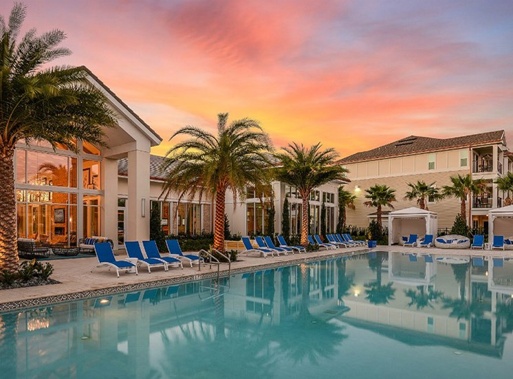 Pool Side Relaxing Area and Beds at Altis Sand Lake, Orlando, FL 32836