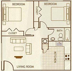 2 Bedroom / 1 Bathroom