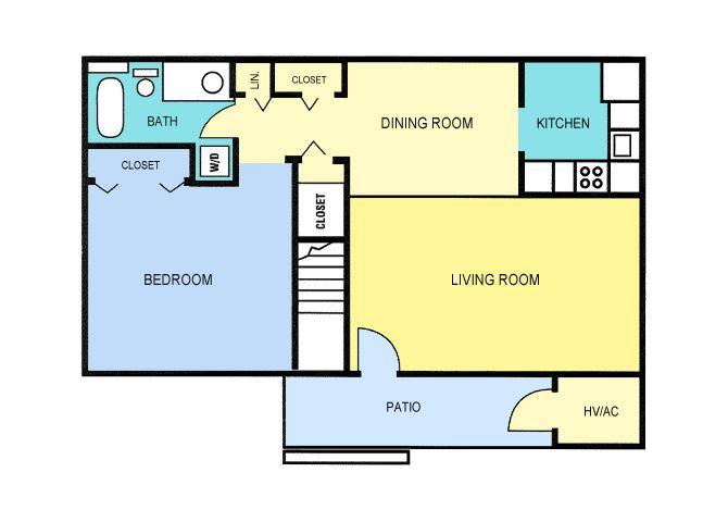 Rivers Bend Apartments One Bedroom Floor Plan