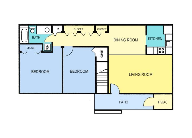 Rivers Bend Apartments Two Bedroom Floor Plan