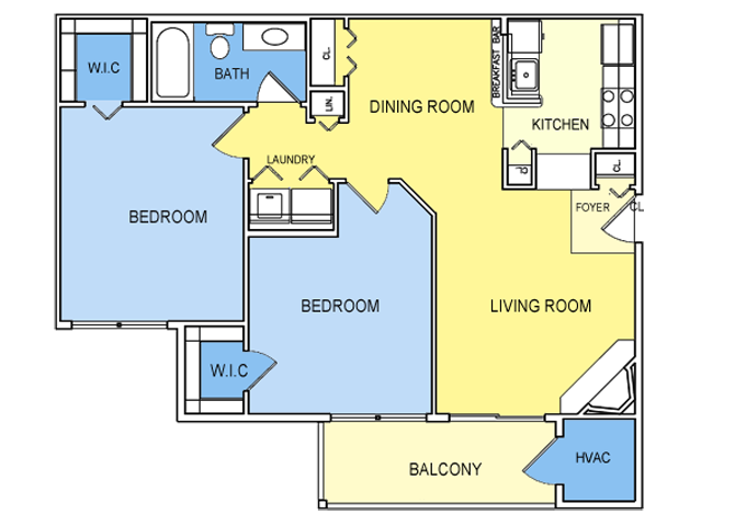 2 Bed 1 Bath Floor Plan 3