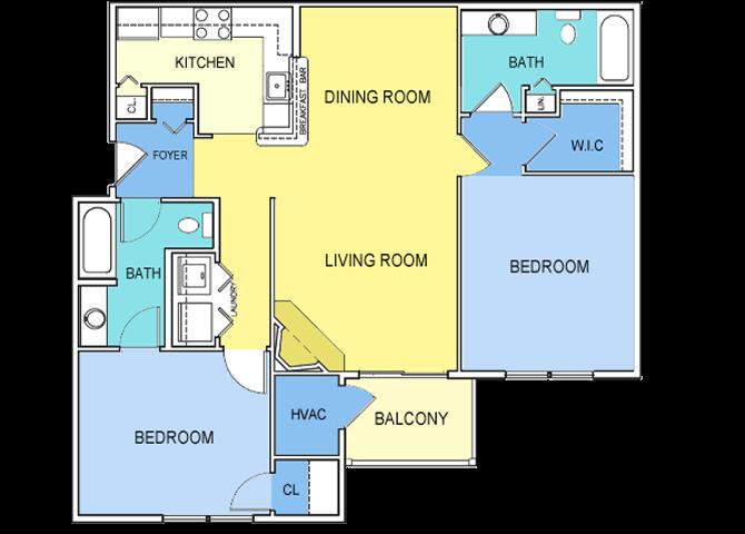 2 Bed 2 Bath Floor Plan 4